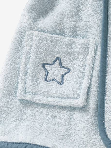 Bear Bathrobe for Babies BLUE LIGHT SOLID WITH DESIGN - vertbaudet enfant