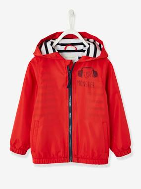 Boys-Coats & Jackets-Windcheaters & Raincoats-Hooded Windcheater with Striped Lining for Boys