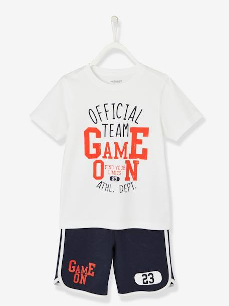 Sports Combo for Boys: T-Shirt & Bermuda Shorts GREEN DARK SOLID WITH DESIGN+RED DARK SOLID WITH DESIGN - vertbaudet enfant