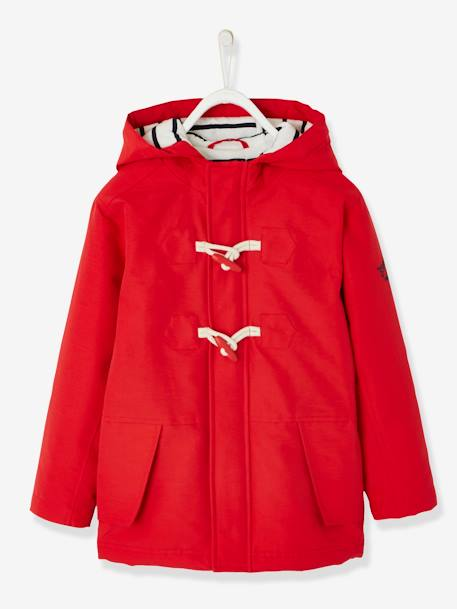 Duffle Coat-Type Parka with Hood, for Boys RED DARK SOLID - vertbaudet enfant