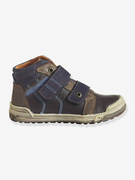 Boys' Leather Touch 'n' Close Ankle Boots BROWN DARK SOLID WITH DESIGN - vertbaudet enfant