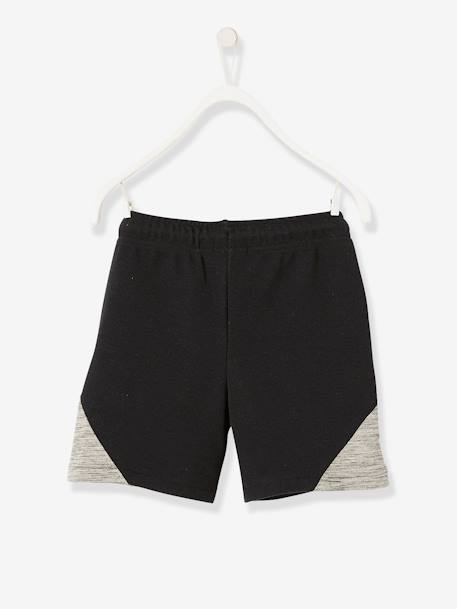 Sports Bermudas Shorts for Boys, Techno Fabric BLACK DARK SOLID WITH DESIGN - vertbaudet enfant