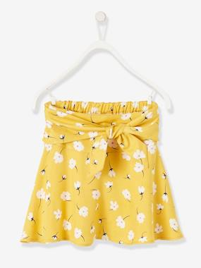 Vertbaudet Collection-Printed Skirt for Girls with Tie Belt