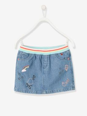 Girls-Skirts-Denim Skirt with Iridescent Graffiti for Girls