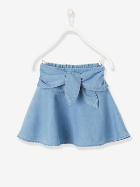 Vertbaudet Collection-Girls-Skirts-Denim Skirt with Tie Belt for Girls