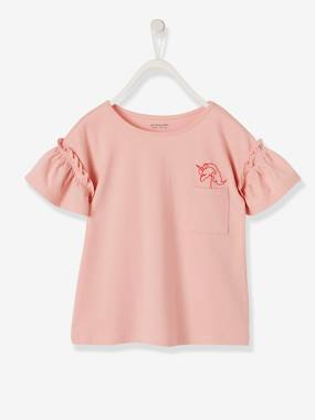 Girls-Tops-T-Shirts-T-Shirt with Embroidered Unicorn, Ruffles on the Sleeves for Girls
