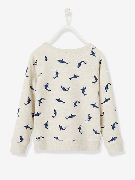 Shark Print Sweatshirt for Boys WHITE LIGHT ALL OVER PRINTED - vertbaudet enfant