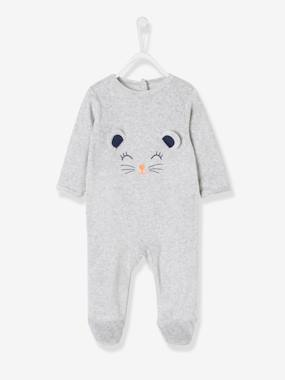 Vertbaudet Collection-Baby-Babies' Velour Pyjamas, Press-studs on the Back