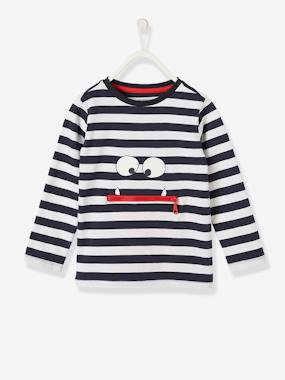 Vertbaudet Collection-Boys-Striped T-Shirt with Fun Little Monster for Boys