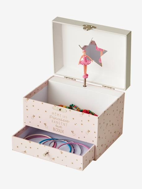 Musical Jewellery Box PINK LIGHT SOLID WITH DESIGN - vertbaudet enfant