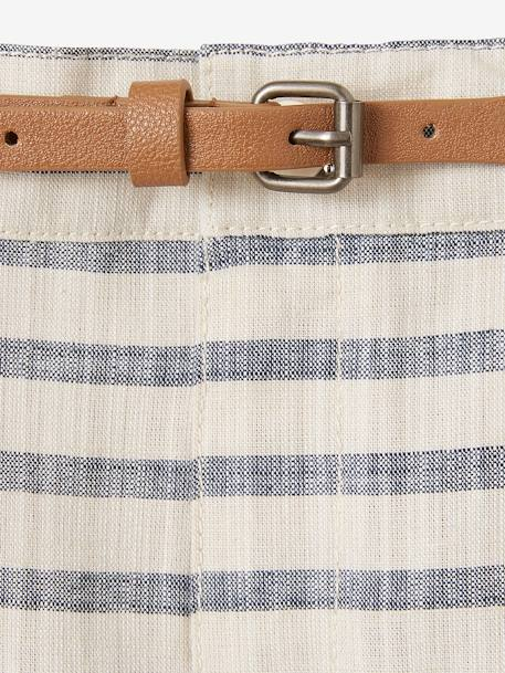 Striped Bermuda Shorts for Boys WHITE LIGHT STRIPED - vertbaudet enfant