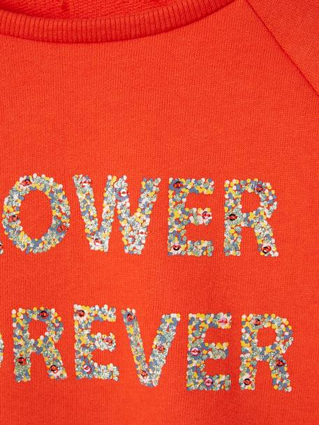 Sweat fille inscription à paillettes et sequins ORANGE - vertbaudet enfant