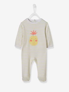 Baby-Pyjamas-Striped Cotton Sleepsuit for Babies, Press-Stud Fastening on the Back