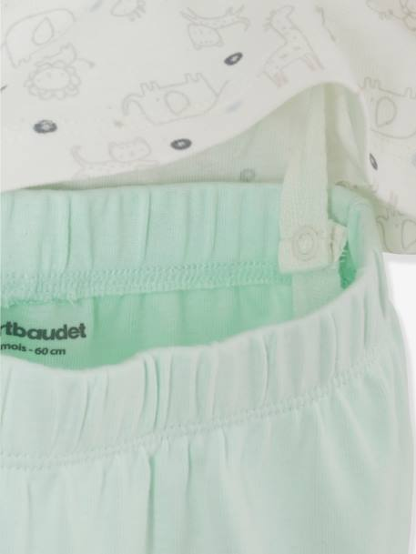 Pack of 2 Sets of 2-Piece Baby Pyjamas, in Cotton GREEN LIGHT 2 COLOR/MULTICOLOR - vertbaudet enfant