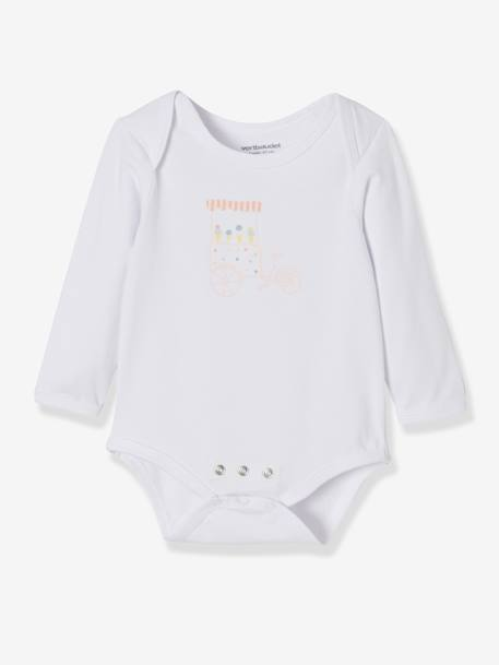 Pack of 3 Progressive Bodysuits in Stretch Cotton, Long Sleeves BLUE LIGHT TWO COLOR/MULTICOL+PINK LIGHT 2 COLOR/MULTICOL R - vertbaudet enfant