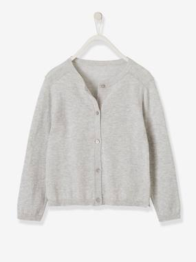 Girls-Cardigans, Jumpers & Sweatshirts-Cardigan with Glittery Buttons for Girls