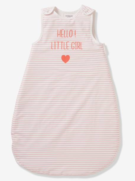 Summer Special Sleep Bag, HELLO LITTLE GIRL PINK LIGHT SOLID WITH DESIGN - vertbaudet enfant