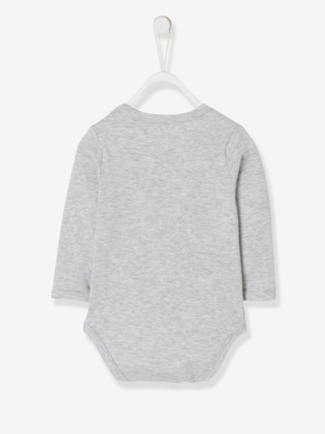 Long-Sleeved Bodysuit with Elephant Motif for Babies GREY LIGHT MIXED COLOR+GREY MEDIUM MIXED COLOR+PINK MEDIUM MIXED COLOR - vertbaudet enfant