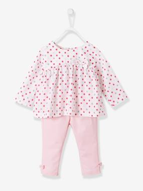 BREST - NAVY DOT-Baby Girls Printed Blouse & Trousers Outfit Set