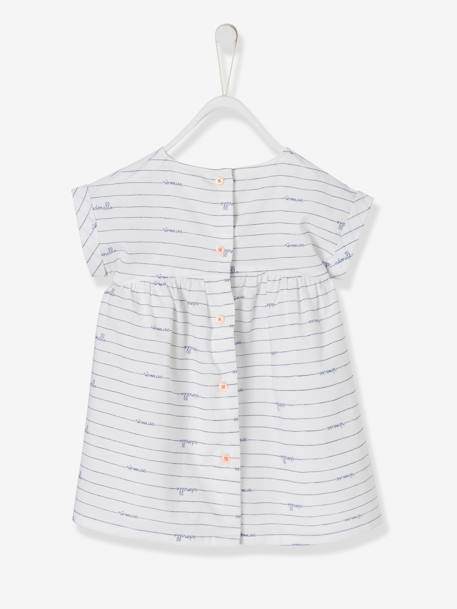 Babies' Striped Dress with Bird BLUE DARK STRIPED+WHITE LIGHT ALL OVER PRINTED - vertbaudet enfant