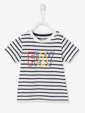 Baby-T-shirts & Roll Neck T-Shirts-T-shirts-Short-Sleeved T-Shirt with Message for Baby Boys
