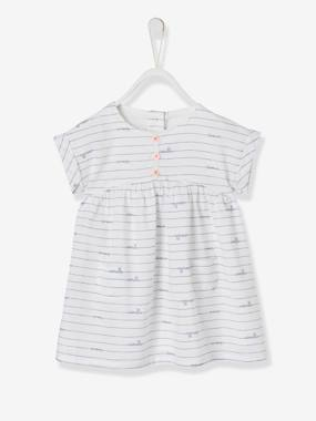 Baby-Dresses & Skirts-Babies' Striped Dress with Bird