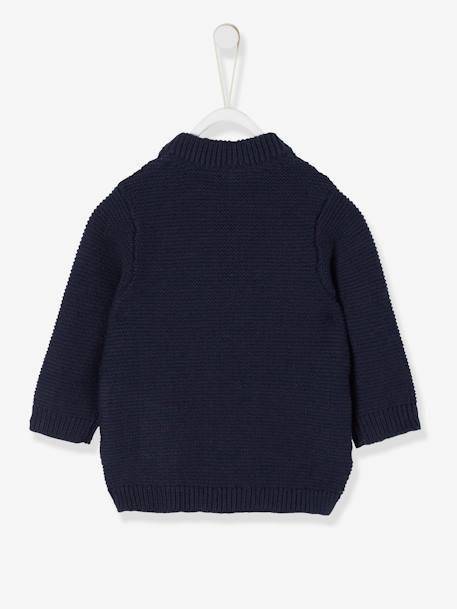 Purl Stitch Knit Cardigan for Baby Boys BLUE DARK SOLID+GREY LIGHT MIXED COLOR - vertbaudet enfant