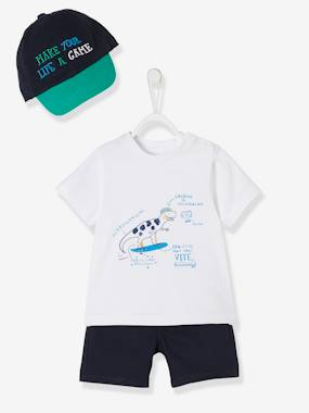 Baby-Outfits-Cap + T-Shirt + Shorts Outfit with Dinosaur Motif for Baby Boys