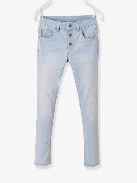 Slim Leg Jeans for Girls BLUE LIGHT SOLID - vertbaudet enfant