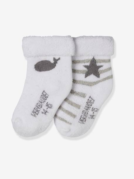 Pack of 2 Pairs of Baby Socks, Organic Collection Grey pack - vertbaudet enfant