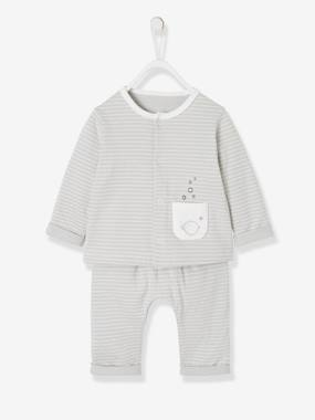 Vertbaudet Collection-Baby-Newborn Baby Ensemble, Striped Cardigan & Trousers Ensemble