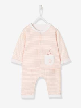 Vertbaudet Sale-Baby-Newborn Baby Ensemble, Striped Cardigan & Trousers Ensemble