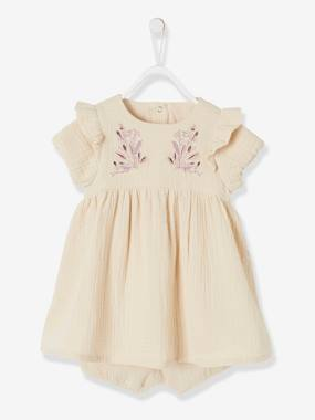 Baby-Dresses & Skirts-Embroidered Cotton Gauze Ensemble for Baby Girls