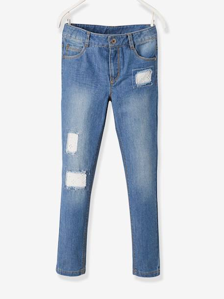 MEDIUM Hip, Fancy Straight Leg MorphologiK Jeans for Girls BLUE DARK WASCHED - vertbaudet enfant
