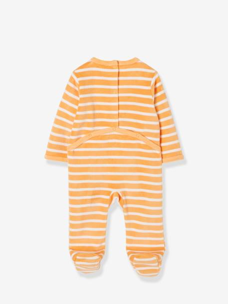 Pack of 3 Velour Sleepsuits for Babies, Press-Stud Fastening on the Back WHITE LIGHT TWO COLOR/MULTICOL - vertbaudet enfant