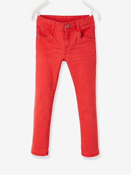 NARROW Fit - Boys' Slim Cut Trousers BLUE MEDIUM SOLID+GREEN DARK SOLID+ORANGE LIGHT SOLID+RED DARK SOLID+RED MEDIUM SOLID - vertbaudet enfant
