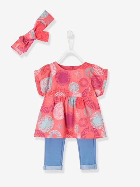 Baby Girls' Blouse, Headband and Treggings Outfit, with Flowers BLUE DARK ALL OVER PRINTED+PINK LIGHT ALL OVER PRINTED+RED LIGHT ALL OVER PRINTED - vertbaudet enfant