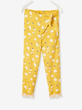Girls-Trousers-Printed Trousers with Crossover Sash to Tie, for Girls