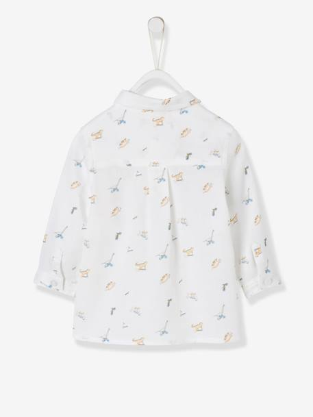 Shirt with Dinosaur Print for Baby Boys WHITE LIGHT ALL OVER PRINTED - vertbaudet enfant