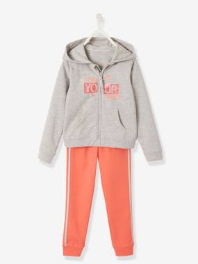 Girls-Sportswear-Sports Combo in Fleece with Glittery Motifs for Girls