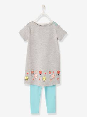 Dresses-Dress + Leggings with Iridescent Motifs for Girls
