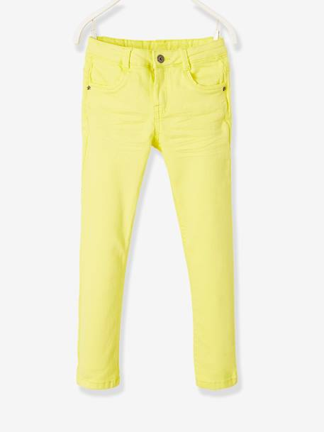 MEDIUM Fit, Girls' Slim Fit Trousers BLUE LIGHT SOLID+GREEN LIGHT SOLID+PINK BRIGHT SOLID+PINK LIGHT SOLID+PINK MEDIUM SOLID+PURPLE DARK SOLID+WHITE LIGHT ALL OVER PRINTED+YELLOW LIGHT SOLID+YELLOW MEDIUM SOLID - vertbaudet enfant