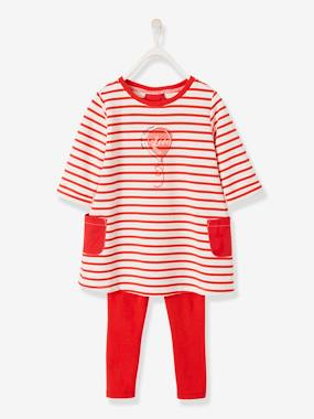 Dresses-Striped Dress + Leggings Ensemble for Girls
