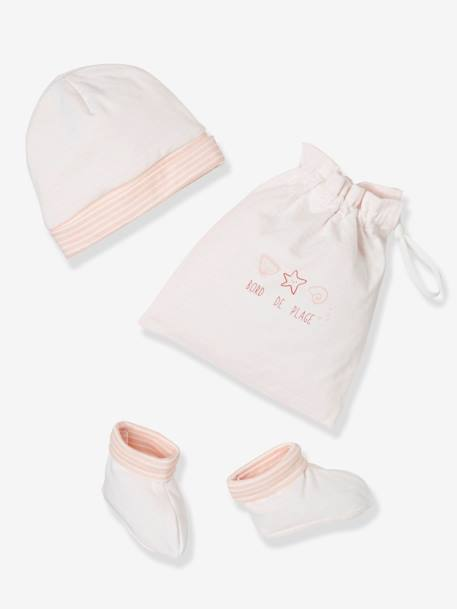 Beanie & Booties Set with Bag for Newborn Babies BLUE DARK STRIPED+PINK LIGHT STRIPED - vertbaudet enfant