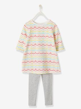 Dresses-Funky Striped Dress + Leggings Ensemble for Girls