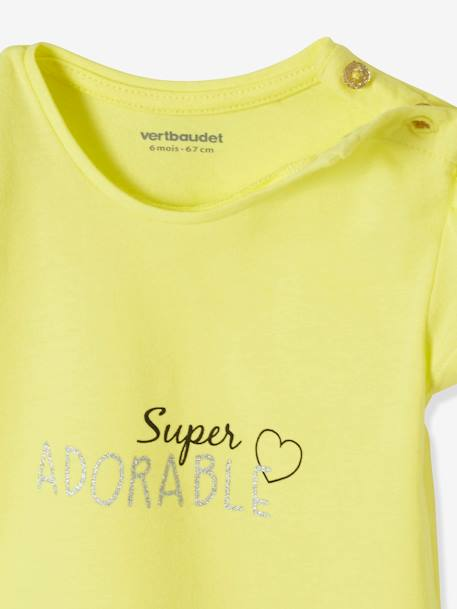 Pack of 2 Short-Sleeved T-Shirts for Baby Girls WHITE LIGHT TWO COLOR/MULTICOL+YELLOW LIGHT 2 COLOR/MULTICOL - vertbaudet enfant