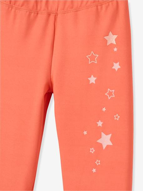 Girls Sports Leggings Dark grey+PINK LIGHT SOLID WITH DESIGN - vertbaudet enfant