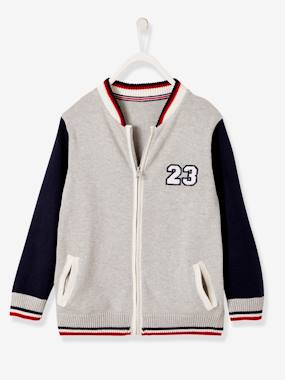 Boys-Cardigans, Jumpers & Sweatshirts-Cardigans-Two-tone College-Type Jacket for Boys