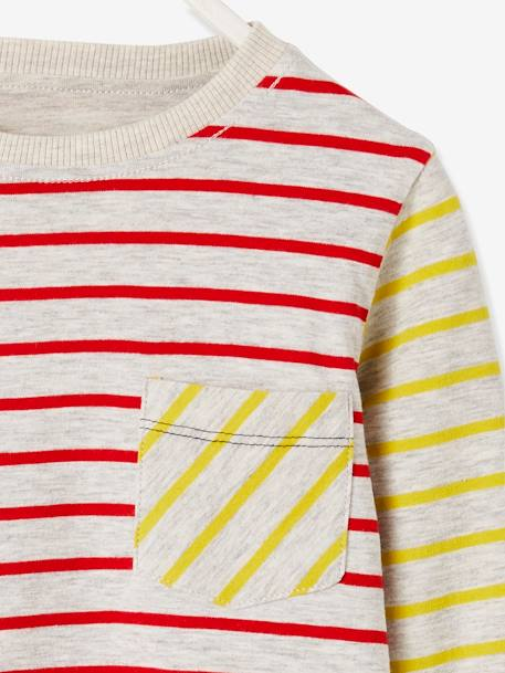 Reversible T-Shirt for Boys, Striped/Print GREY LIGHT MIXED COLOR+RED MEDIUM STRIPED - vertbaudet enfant