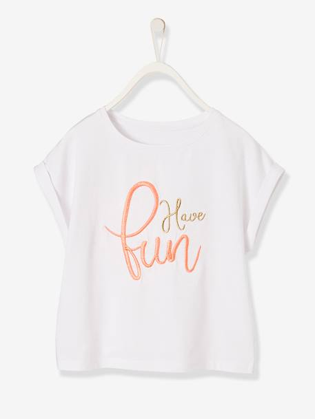 9a761a04e T-Shirt for Girls, with Iridescent Embroidery & Ruffled Sleeves - white  light solid with design …
